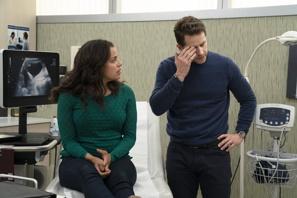 "Manifest Season 2 - MANIFEST -- ""Fasten Your Seatbelts"" Episode 201 -- Pictured: (l-r) Athena Karkanis as Grace Stone, Josh Dallas as Ben Stone -- (Photo by: Virginia Sherwood/NBC)"